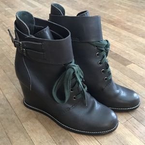 See by Chloe wedge lace up boots